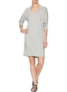 NWT James Perse Heather Gray Brushed Fleece Dolman Sweatshirt Dress 2 M $135 #JamesPerse #SweaterDress #Casual