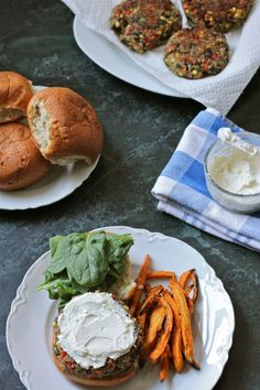Quinoa Veggie Burgers with Whipped Feta | TheCornerKitchenBlog.com  It was very filling, I tried baking it first but it don't work out. I wound up frying it.~KP