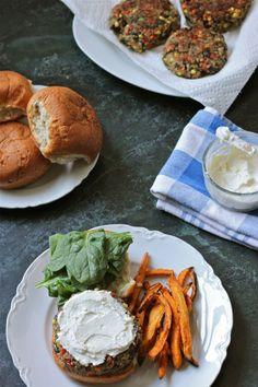 Quinoa Veggie Burgers with Whipped Feta | TheCornerKitchenBlog.com