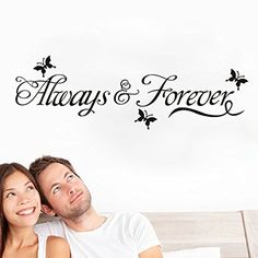 Always Forever Quotes Wall Stickers Decorations Diy Home Decals Vinyl Art Room Mural Posters Adesivos De Paredes 45^white *** Be sure to check out this awesome product.