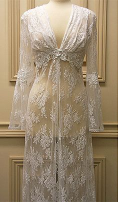 Beautiful White Satin with all-over Bridal Lace Night Gown and matching sheer lace robe for a stunning peignoir set by Jonquill - sizes Petite through Large