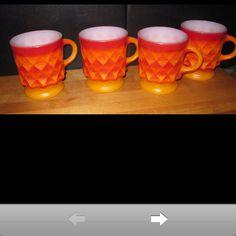 Red orange fire king mugs.