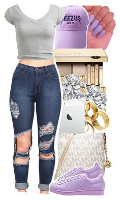 """8/21/2016"" by yeauxbriana ❤ liked on Polyvore featuring Clarins, Michael Kors, adidas Originals and Wet Seal"