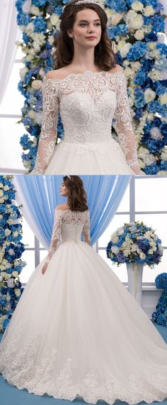 Romantic Tulle Bateau Neckline Ball Gown Wedding Dress With Lace Appliques & Beadings One Shoulder Wedding Dress, Wedding Gowns, Grooms