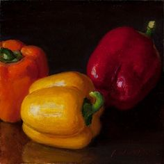 Bell Pepper Original Oil Painting Still Life Vegetable Daily Painting 6x6 Y Wang | eBay