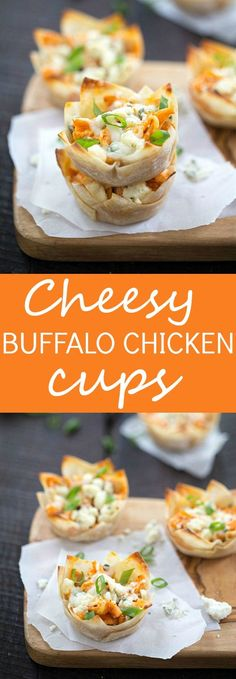 Cheesy Buffalo Chicken Cups Recipe - Tender chicken seasoned with the best hot sauce, then topped with cheesy mozzarella cheese, then finished with crumbled blue cheese! One of our favorite appetizers for a party! If you like buffalo wings, buffalo chicken dip, or pasta you are going to love this!