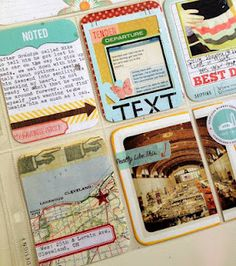 text box, map with star sticker and pointer finger, 4x4 photo overlapping pockets