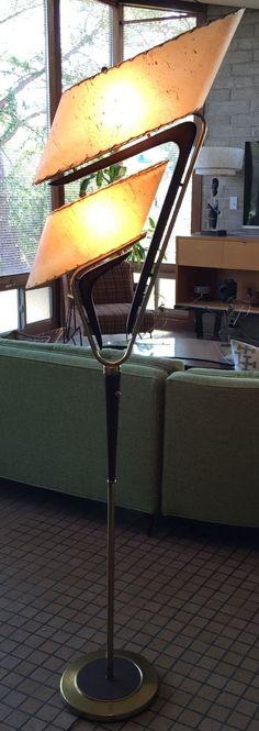 Vtg 50s Majestic Boomerang Floor Lamp Fiberglass Shades Mid Century Retro Atomic | eBay