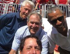 Golfer Phil Mickelson snaps a selfie with former presidents Bill Clinton, George W. Bush and Barrack Obama at the Presidents Cup. Presidents Cup, American Presidents, Country Music News, Barrack Obama, Phil Mickelson, Pictures Of People, Former President, Marvel Memes, How To Memorize Things