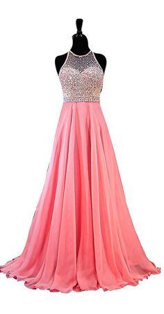 Jewel Sleeveless Rhinestone Beads Chiffon A Line Evening Dress