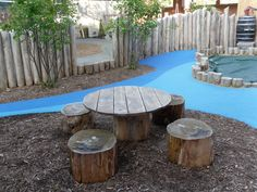 Natural materials in outdoor play space