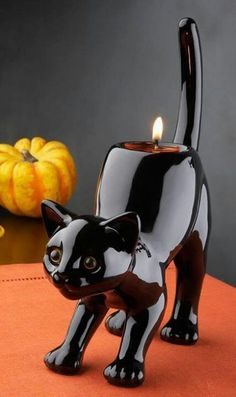 Black cat arched back Votive holder. Please also visit www.JustForYouPropheticArt.com for colorful, inspirational art and stories and like my Facebook Art Page  at www.facebook.com/Propheticartjustforyou Thank you so much! Blessings!