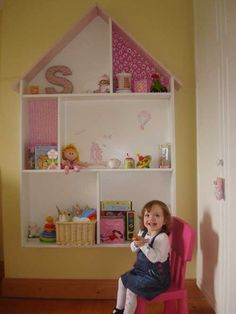 A gorgeous, beautiful, stupendously beautiful set of doll's house shelves for a little girl's bedroom