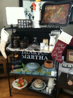 My favorite section of my display for my Open House - Baker's Rack from Costco ($49!) and my beautiful Mary & Martha products encouraging hospitality & memory making that is simple, meaningful and REAL - it's about people, not perfection!!!  Want to know how? beth@moseley5.com