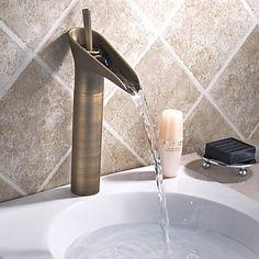Bathroom Sink Tap in Vintage Style Antique Brass Finish Tall Bathroom Sink Tap