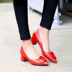 best sneakers 14bde 72008 Aliexpress.com  Comprar 2016 recién llegado de la hebilla del encanto  tacones hoof point toe mujeres zapatos negro rojo primavera verano tamaño  estándar 34 ...