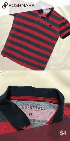 Aeropostale Striped Polo Red & Navy Blue striped polo Aeropostale Tops Tees - Short Sleeve