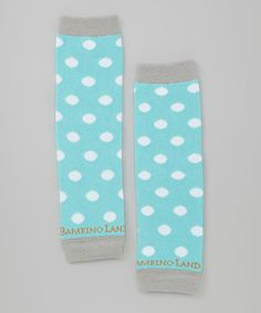Another great find on #zulily! Sky Blue & White Polka Dot Newborn Organic Leg Warmers by Bambino Land #zulilyfinds