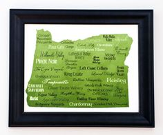 This word art print is a tribute to Oregon and its excellent wine. It features their most popular varietals and vineyards, along with their well