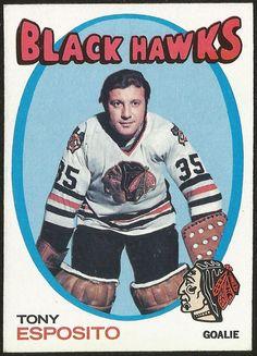 O-Pee-Chee Tony Esposito Chicago Blackhawks Hockey Card Blackhawks Hockey, Hockey Goalie, Chicago Blackhawks, Hockey Players, Ice Hockey, Blackhawks News, Pens Hockey, Hockey Cards, Nhl