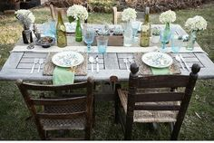 Door tables and mismatched chairs