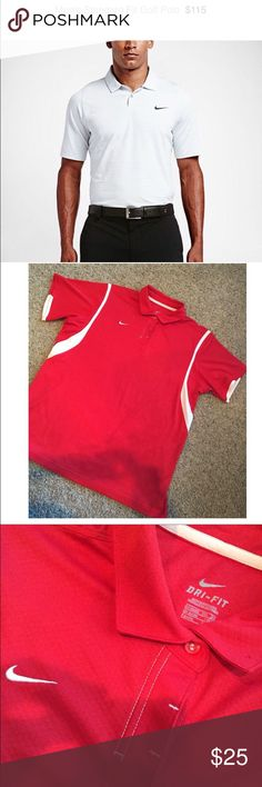 Worn once! Red Nike Golf Dry Fit Shirt. Size XXL. Worn once! Red Nike Golf Dry Fit Shirt. Size XXL. Retail $115. White shirt for price representation only. Nike Shirts Polos