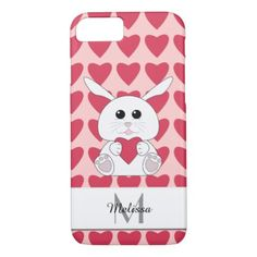 Personalize Cute Kawaii Bunny Pink Hearts Monogram iPhone 8/7 Case - valentines day gifts love couple diy personalize for her for him girlfriend boyfriend