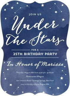 Stellar Gala - Adult Birthday Party Invitations in Baltic or Slate 25th Birthday Parties, Adult Birthday Party, Birthday Party Invitations, 13th Birthday, Gala Invitation, Invitation Design, Invitation Ideas, Sweet 16, Gala Themes
