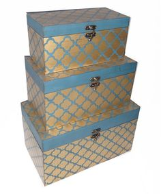 Look at this Gold & Blue Trunk Set on #zulily today!