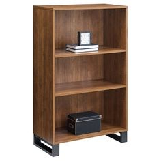 """Read reviews and buy 48"""" 3 Shelf Tavia Bookshelf Light Walnut - Whalen at Target. Choose from contactless Same Day Delivery, Drive Up and more. 3 Shelf Bookcase, Metal Bookcase, Bookcase Styling, Modern Bookcase, Bookshelves, Vertical Bookshelf, Bookshelf Lighting, Cube Organizer, College Dorm Rooms"""