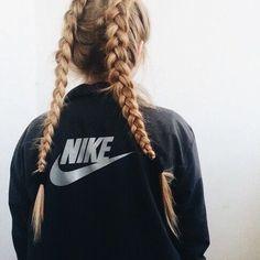 Athletic braids, Nike jacket.