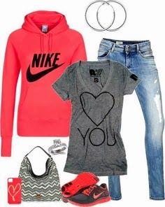 Pinkish Nike and blue outfit   Fashion World
