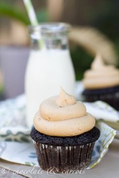 Cream cheese peanut butter frosting.  Only use 1 cup of powdered sugar.  Perfect!!!