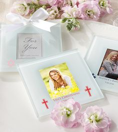 Personalized First Communion Favors Photo Coasters