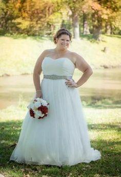 Dot Tulle Sweetheart Neck Plus Size Wedding Dress - Davids Bridal
