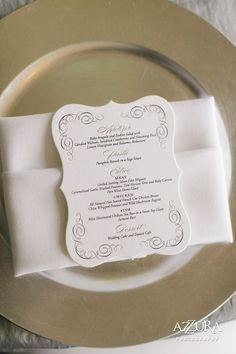 Dauphine Press menu card on classic silver elegance table