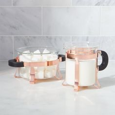 Shop Bodum ® Copper Cream and Sugar Set. Cradled in copper-finished frames, this beautiful glass cream and sugar set is the perfect complement to our Bodum copper French press and milk frother. Crate And Barrel, Copper French Press, Irish Coffee Mugs, Coffee Set, Copper Kitchen, Copper Pots, Coffee And Tea Accessories, Kitchen Accessories, Table Accessories