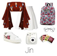 """""""Floral Outfit with Jin"""" by infires-jhope ❤ liked on Polyvore featuring Boutique Moschino, Lalla, Vans, Retrò, Fujifilm and Polaroid"""