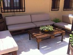 This is also other idea about the wooden pallet sofa with table which is placed outdoor and it is also looking so simple and beautiful because its making format is so simple that every person can understand it easily and can take idea to watching this idea. You can make it more beautiful if you paint it well color and you can also polish it well which can makes your wooden set shining.