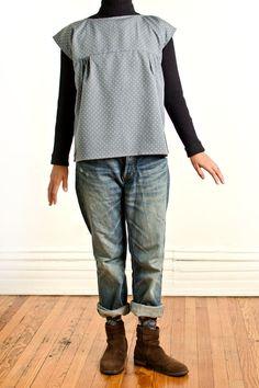 Polka Dots Pullover Blouse by AtelierToiToiToi on Etsy, $40.00
