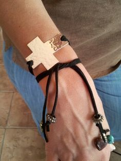 Silver Cross ~ leather n beads