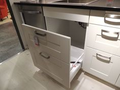 Kitchen Design Ideas This IKEA trash bin cabinet works under the sink. Compost compartment and recycling compartment