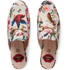 Gucci Garden Exclusive Princetown Slipper (2.280 BRL) ❤ liked on Polyvore featuring shoes and slippers