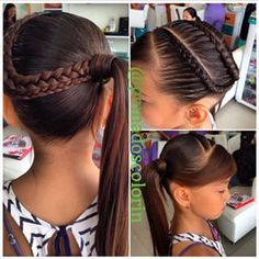 Pretty and Cool Braided Ponytail Hairstyles for Bold Girls Girls Hairdos, Cute Girls Hairstyles, Princess Hairstyles, Pretty Hairstyles, Girls Braids, Braided Ponytail Hairstyles, Down Hairstyles, Easy Hairstyles, Natural Hair Styles