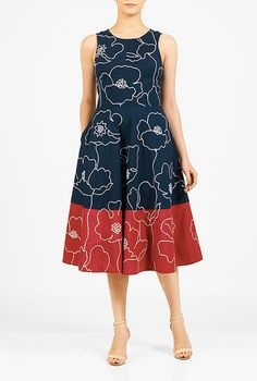 I <3 this Floral embellished colorblock stretch poplin dress from eShakti