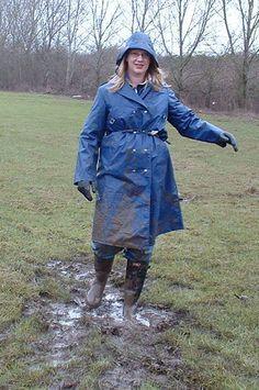 A muddy walk in her pvc mac Mud Boots, Wellies Boots, Mudding Girls, Ladies Wellies, Dress Skirt, Shirt Dress, Pvc Raincoat, Rain Gear, Black Leather Boots