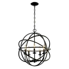 Bel Air Lighting 5-Light Rubbed Oil Multi Ring Orb Bronze Chandelier-70655 ROB - The Home Depot