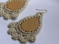 Leather and Crochet Earrings by lindalu on Etsy
