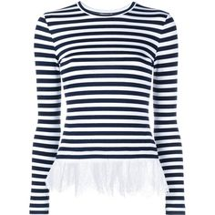 Natasha Zinko Striped Lace Long-Sleeve Top ($520) ❤ liked on Polyvore featuring tops, striped long sleeve top, blue lace top, lace top, blue striped top ve stripe top