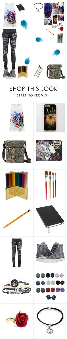 """""""Art"""" by sorrowevermore ❤ liked on Polyvore featuring Sakroots, Jayson Home, Moleskine, Dsquared2, Converse, Oscar de la Renta and Alex and Ani"""